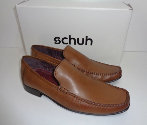 Schuh Warwick Mens Tan Leather Slip On Formal Dress Shoes RRP £53 New UK Size 4