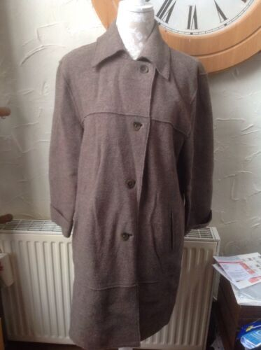 🍀M & S🍀UK 14 Loose Fitting Brown Wool Warm Coat/jacket. Button Up Lovely, GC