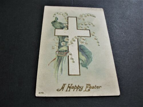 1909 A Happy Easter - Ben Franklin One cent Stamp, Postmarked Postcard. RARE.
