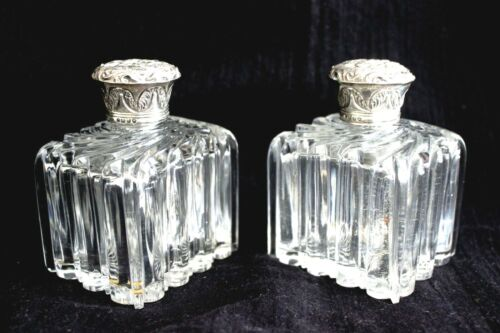 PAIR Antique Sterling Silver Top Perfume Bottles Hallmarked London 1841 RARE!