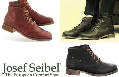 Josef Seibel Shoes Germany brogue Leather lace up zip ankle Boots Sienna 74