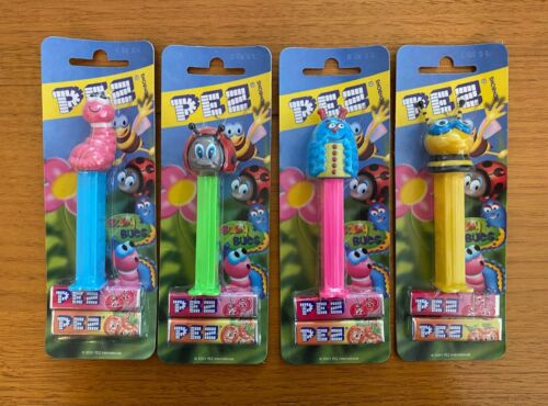 Pez Baby Bugs Set of 4 Pez Dispensers on Blue Cards