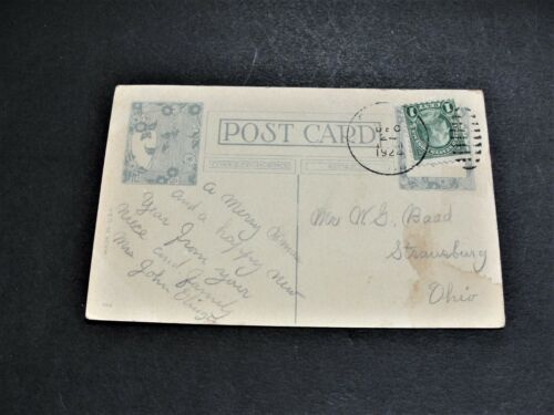 Christmas Wishes - Ben Franklin One Cent  Stamp -1924 Postcard. RARE.