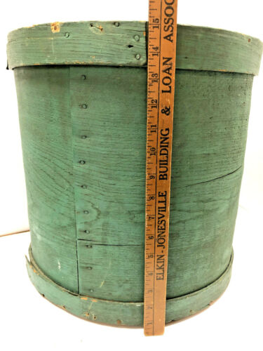 """Antique Huge 15"""" Tall Round Wooden Bentwood Green Painted Pantry Box"""