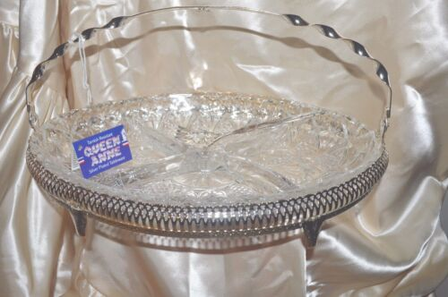 VINTAGE QUEEN ANNE Display Dish SILVER PLATE  & PRESSED GLASS INSET  W FORK