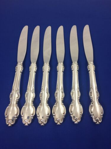"""Reed & Barton ENGLISH CROWN Silverplate 9"""" DINNER KNIVES Shell Scrolls SET OF 6"""