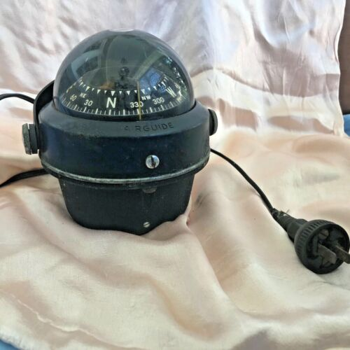 Vintage NAUTICAL COMPASS Airguide w Electric Cord and Plug