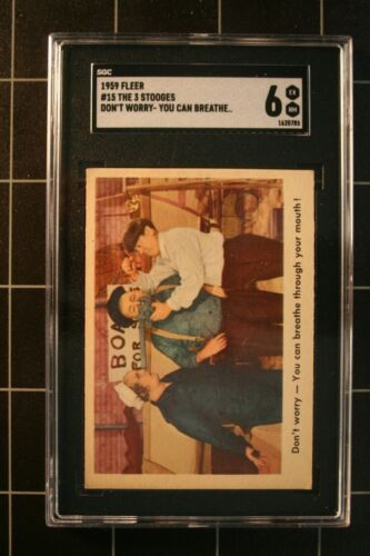 1959 TFleer #15 The 3 Stooges Don't worry - You can breathe...!,    SGC 6
