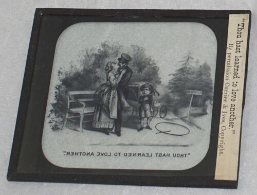 """Antique Magic Lantern Glass Slide 3 1/4"""" x 4"""" Thou hast learned to love another"""