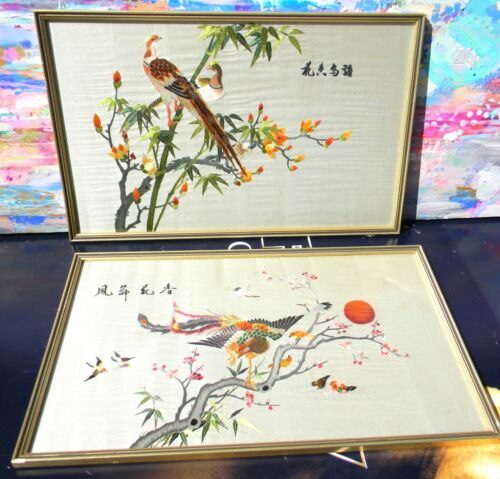 VINTAGE 2 Antique 1940s Framed Oriental Silk Hand Embroidery Signed Pictures