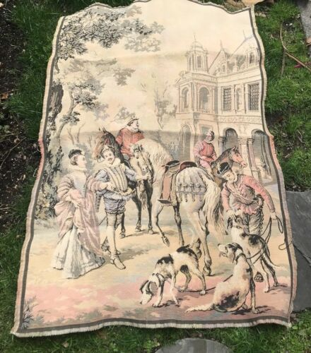 """Antique Tapestry European Gentry Horses and Dogs 38"""" W x 54"""" L"""