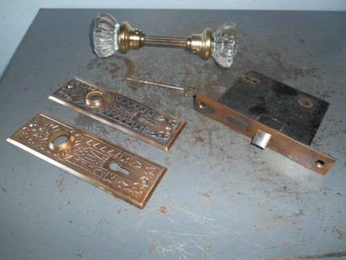 Antique Matching Crystal Knobs Victorian Bronze Back Plates Lock and Key Works