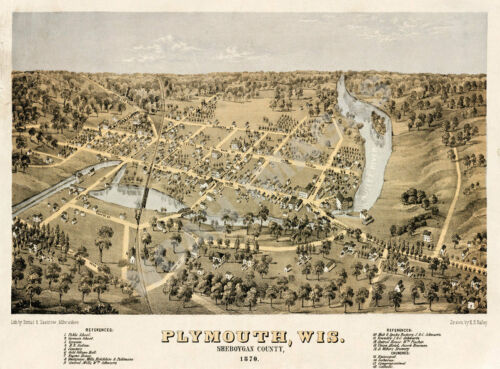 Map of Plymouth Wisconsin c1870 24x18
