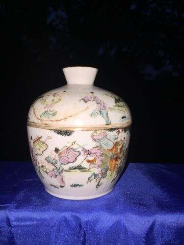 Antique Chinese Wu Shuang Pu Covered Rice Bowl Qing Dynasty 19th Century ❤️j8