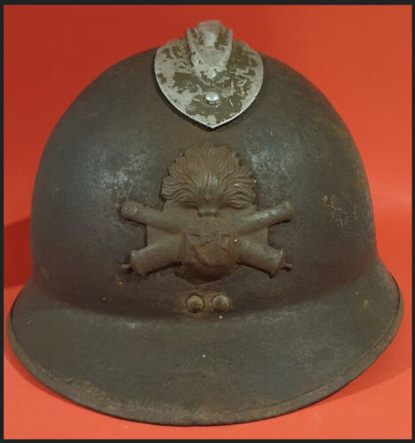 WWII World War Two rare French Officers Maginot Line Artillery helmet named Hats & Helmets - 4722