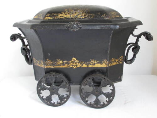 Antique Carriage Tole Coal Bin  Rare and Great Form
