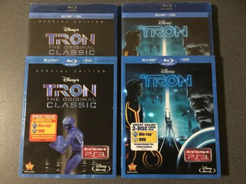 TRON & TRON LEGACY NEW REGION FREE BLU-RAY & REGION 1 DVD SETS WITH SLIPCOVER