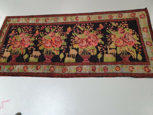 KUTAIS CLASSIC HAND KNOTTED  RARE OLDER LONG RUG  298CMS X 140CMS