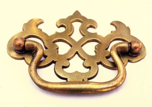 """Antique Hardware Brass Chippendale Drawer Pull Handle...  2 1/2"""" centers"""