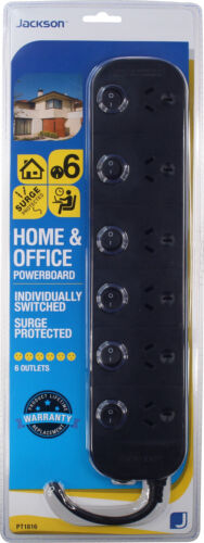 Jackson 6 Way Outlet Surge Protected Individually Switched Power Board