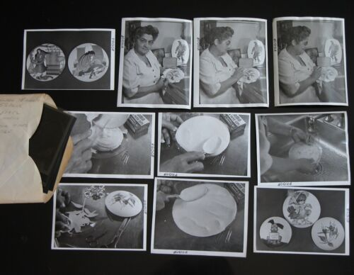 Vtg 1950s Indigenous Plate Painting Photograph Lot of 10 B&W + Negatives CA