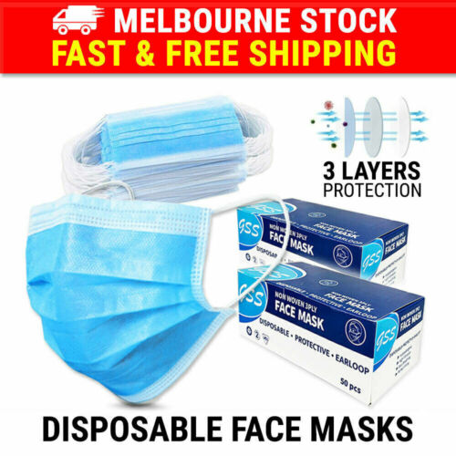 100PCS Face Mask 3 Layer Protective Mouth Masks Anti Bacterial Filter Respirator <br/> ✔MEL Stock ✔AU Seller Since 07 ✔Same Day Dispatch