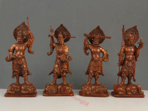 Chinese Exquisite Hand-carved immortal carving Boxwood Door-god statue 4pc Set