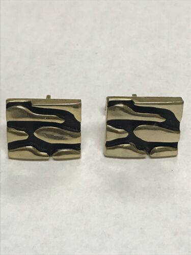 Mid Century Clunky Black & Gild Tome Abstract J. Oldak Patented Cufflinks