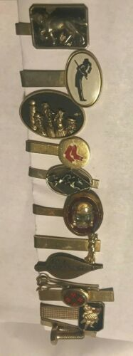 Vintage Clunky Tie Clips / Bars - Lot of (12) Gold Tone
