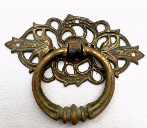 Brass French Country Antique Hardware Vintage Drawer Pull Victorian Cabinet Knob