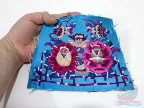 19.5x14cm Chinese ethnic minority women's Hand Embroidery floral piece