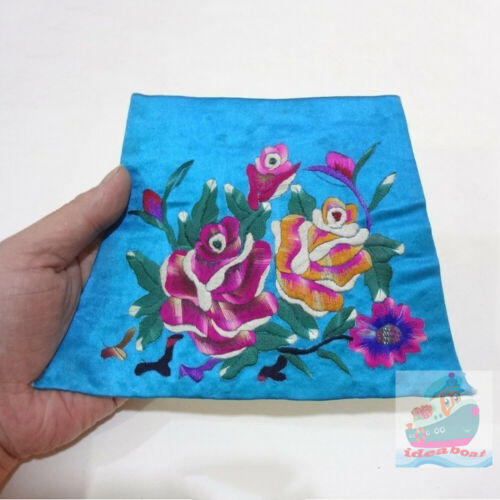 19x13.5cm Chinese ethnic minority women's Hand Embroidery floral piece