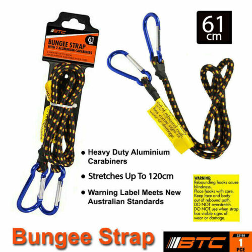 180cm Bungee Cord With Aluminium Hooks x 8mm Carabiner Heavy Duty Luggage