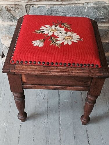 "Antique Foot Stool Sewing Box Wood & Needlepoint 16"" Tall  Daisies on Orange"