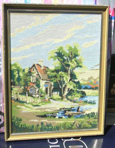VINTAGE A Cottage By A Lock Tapestry Art by Elizabeth W Nasmyth