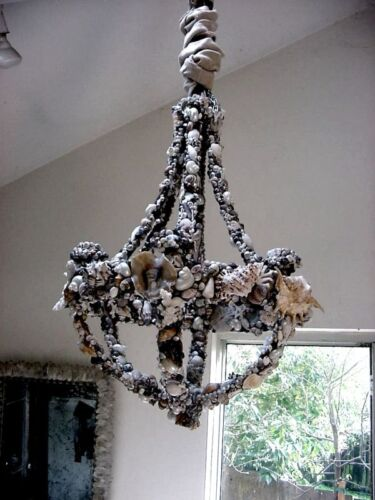 Shell and Coral Seashell Encrusted Grotto Chandelier
