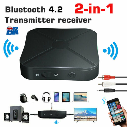 2 in1 HIFI Bluetooth Wireless Audio Transmitter Receiver 3.5MM RCA AUX Adapter