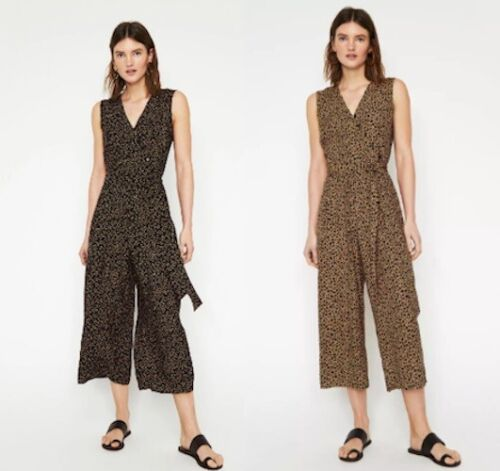 WAREHOUSE Animal Print Culotte Jumpsuit Tan and Black Sizes 6-8-10-12-14-16-18