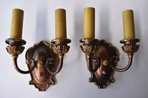 Pair of Original Brass or Bronze Gothic Revival Wall Sconces Acanthus Hammered