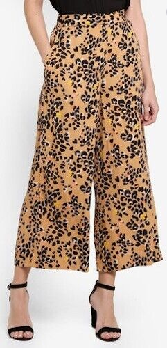 Warehouse Int Floral Leopard Wide Leg Cropped Trousers/Culottes in Sizes 6 to 18
