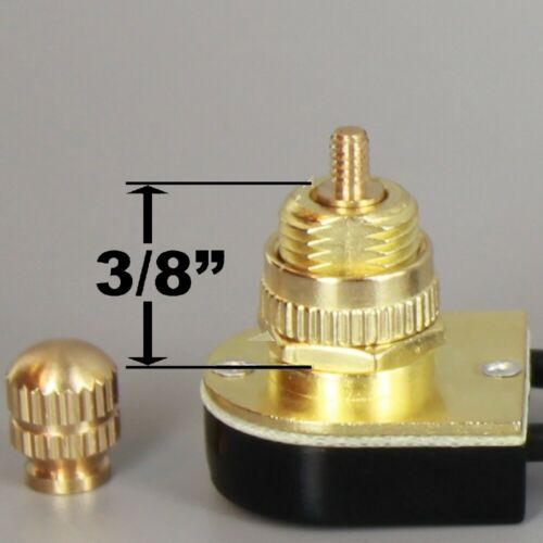 """BRASS ROTARY CANOPY SWITCH 3/8"""" SHANK SINGLE CIRCUIT WITH REMOVABLE KNOB 90577G"""