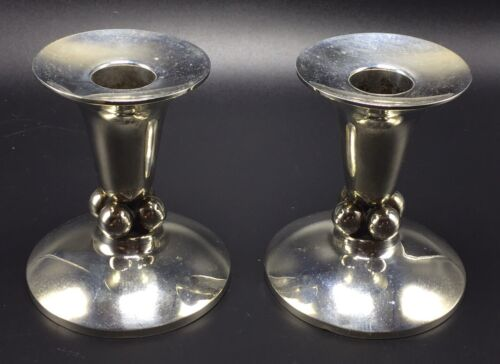 Durham Vintage Sterling Silver Danish Modernist Design Candlesticks