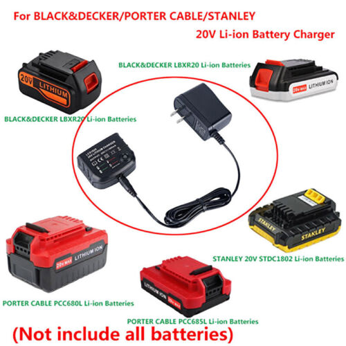 20V Lithium Battery LCS1620 Charger For BLACK+PORTER-CABLE/STANLEY LBXR2HFS CRAU