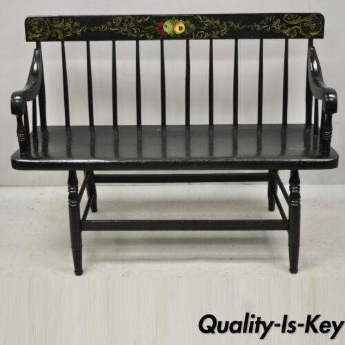 "Antique American Colonial Windsor Style Small Black 42"" Hitchcock Style Bench"