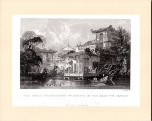 House of a Chinese Merchant, near Canton (Guangzhou) 广州市 Antique views of China