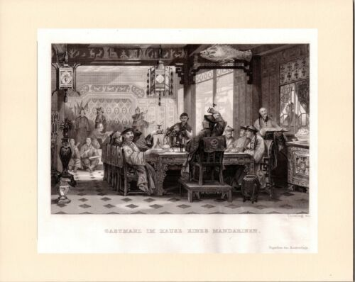 Dinner Party at a Mandarin`s House Antique views of China FREEPOST
