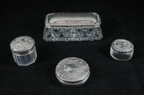 Assortment of Art Nouveau glass sterling silver vanity bottles dishes 1903-11