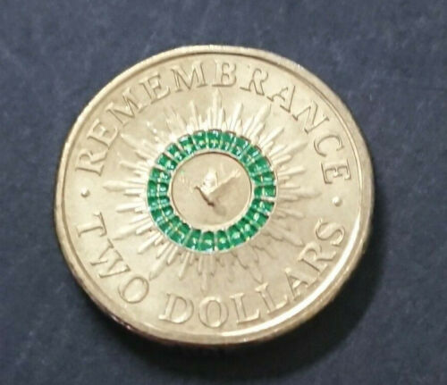 2014 $2 COIN - REMEMBRANCE DAY - GREEN - *ERROR COIN* - EX RAM ROLL - UNC