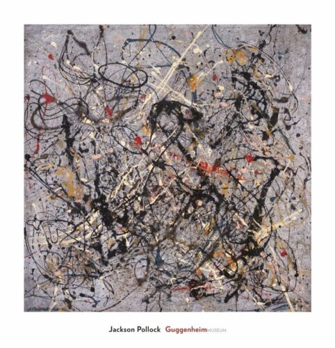 """Jackson Pollock """"Number 18 1950"""" Abstract Print Lithograph 29x28"""