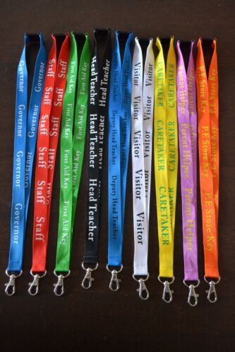 100 PERSONALISED BUSINESS LANYARD NECK STRAP I D HOLDER SCHOOL CLUBS CHARITIES